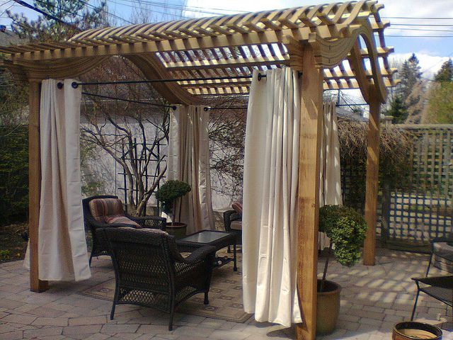Gormwood Classic Arched Pergola With Curtains Pergola Outdoor Spaces Outdoor Pergola Pergola Curtains