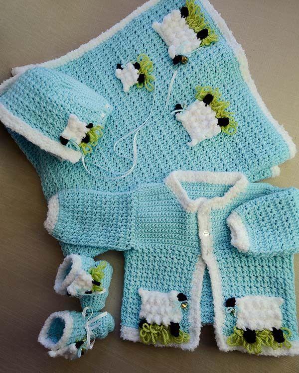 Lambie Pie Layette Crochet Pattern | Baby-sachen häkeln, Strickjacke ...