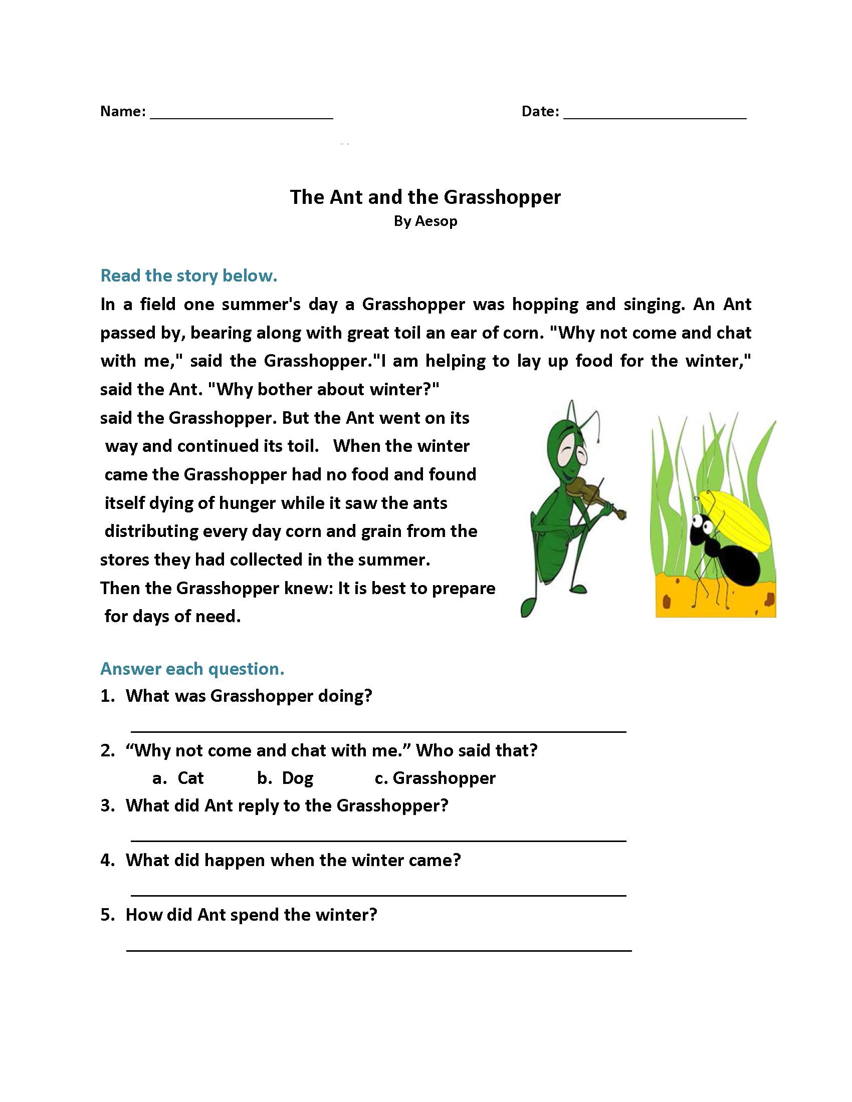 1st Grade Reading Worksheets