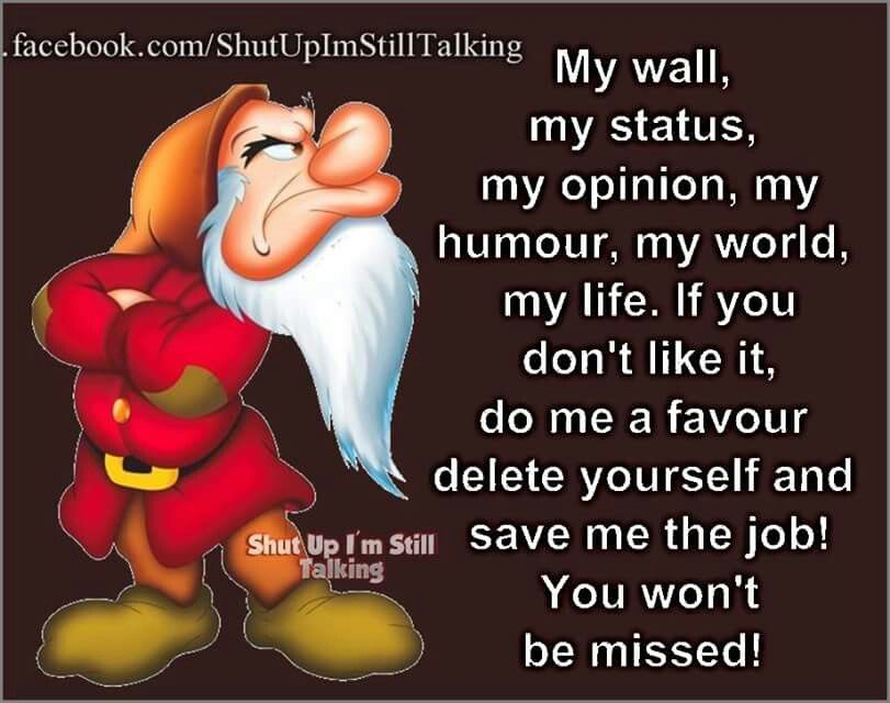 My wall don't like it delete yourself | Cartoon quotes ...