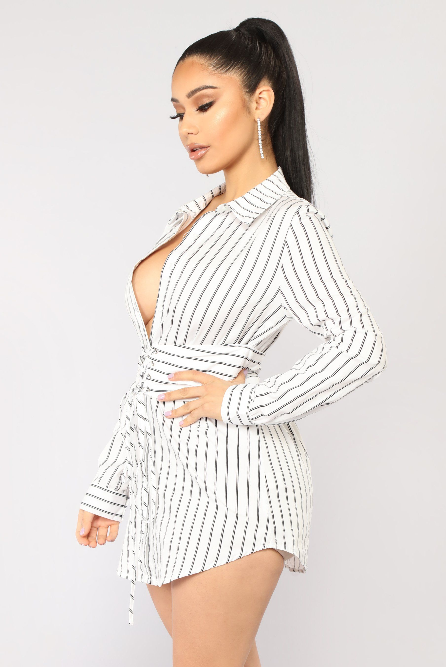 82874dbca04cc6 Available In White And Navy Shirt Dress Striped Print Button Down Corset  Waist Collared 100% Cotton