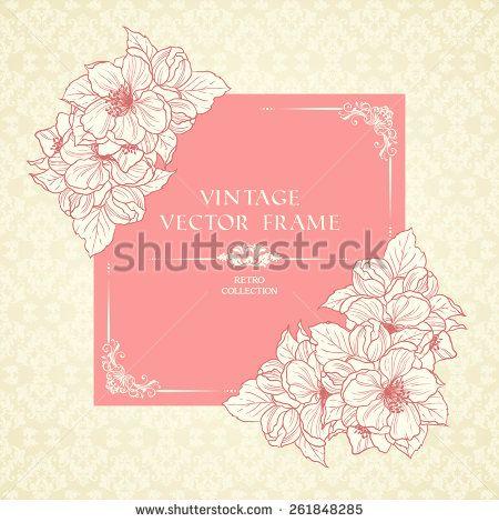 Vintage Floral Frame And Patterned Background Pink Pastel Sakura