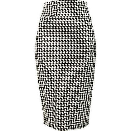 black dogtooth print pencil skirt - just arrived - women - River Island - StyleSays