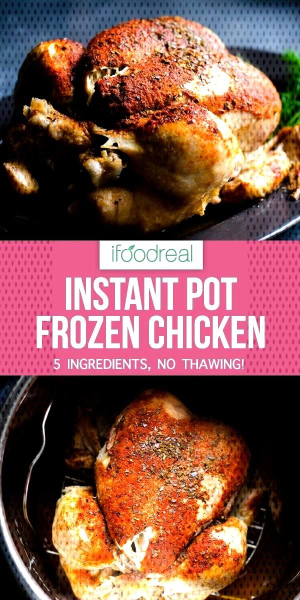 Instant Pot Frozen Chicken or make rotisserie style whole chicken in pressure cooker with 5 mins pr