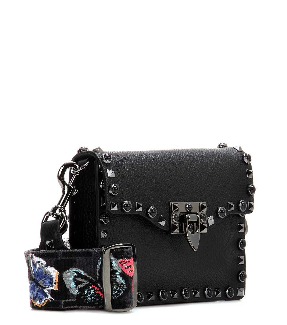 Valentino Garavani Rockstud Rolling Noir leather shoulder bag