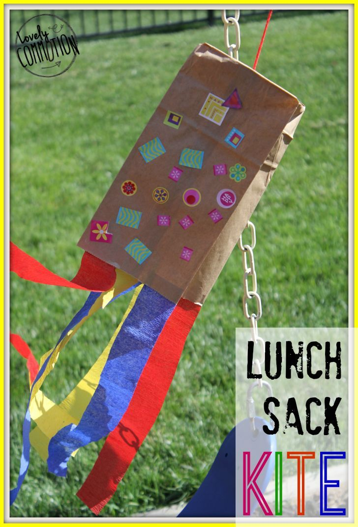 Lunch Sack Kite Kites Craft Easy Crafts For Kids