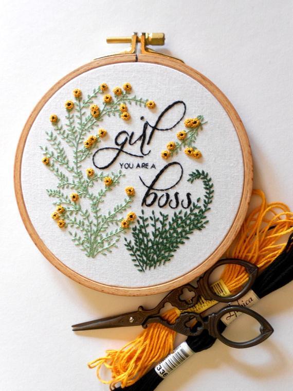 Girl Boss Feminist Wall Art Flower Embroidery Hoop Art Girl Power Quote Feminist Gift