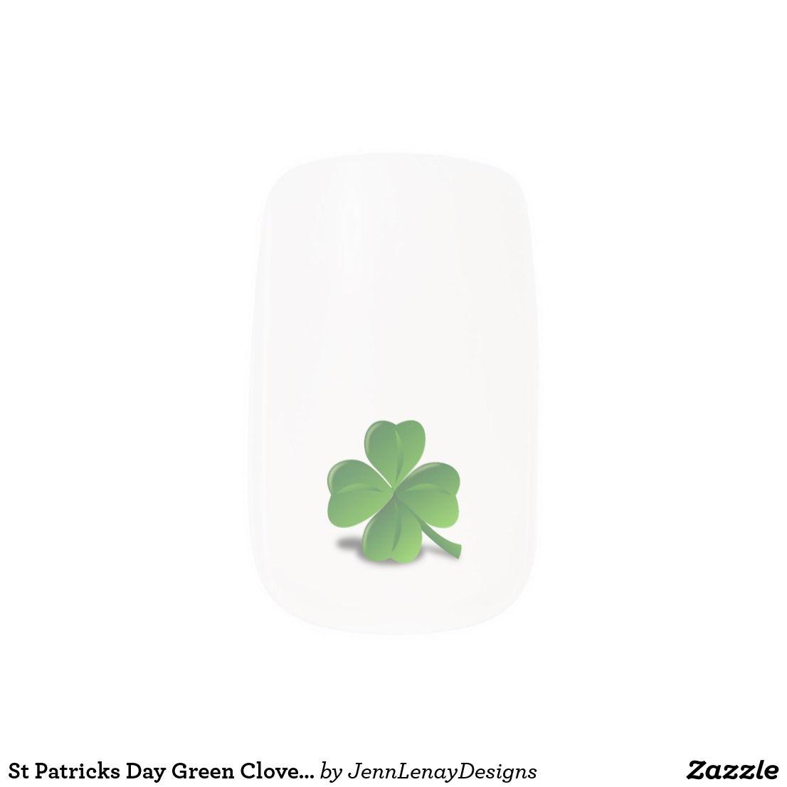 St Patricks Day Green Clover Shamrock Minx Nail Art   Zazzle.com