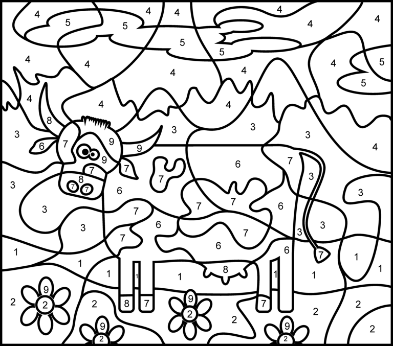 Cow Printable Color By Number Page Hard Coloring Pages Cow Appreciation Day Free Activities For Kids