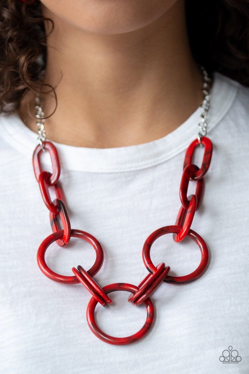 Paparazzi Turn Up The Heat Necklace Red Paparazzi