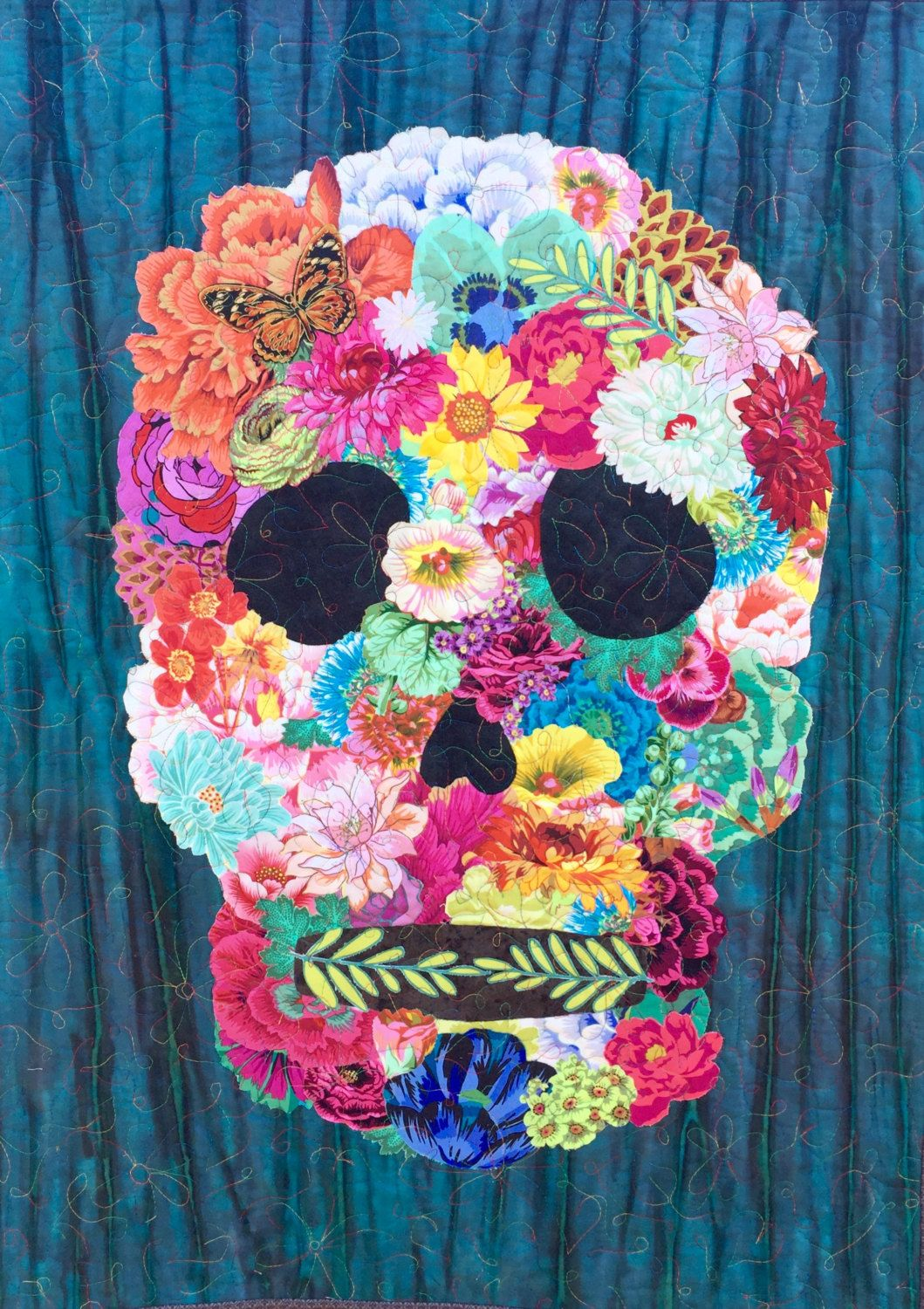 Sugar Skull Quilt : sugar, skull, quilt, Sugar, Skull, Quilt, Pattern/skull, Pattern:, Golgotha, Quilts,, Flower, Collage