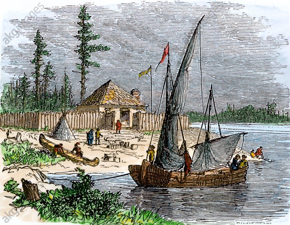 Colonial trading post on Kent Island, Maryland William Claiborne's trading post on Kent Island in Chesapeake Bay, 1631. Hand-colored woodcut of a 19th-century illustration