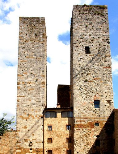 Two towers of Torri Salvucci in San Gimignano, Italy