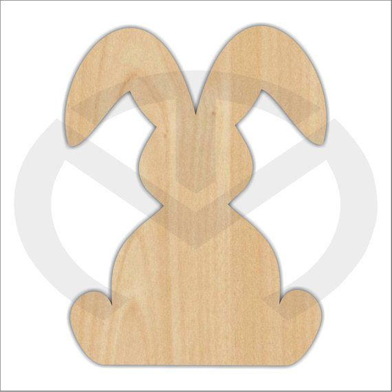 Unfinished Wood Bunny Rabbit With Two Floppy Ears Laser Cutout