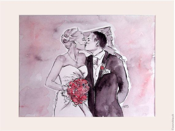Hand Painted Custom Wedding Portrait Family Portrait From