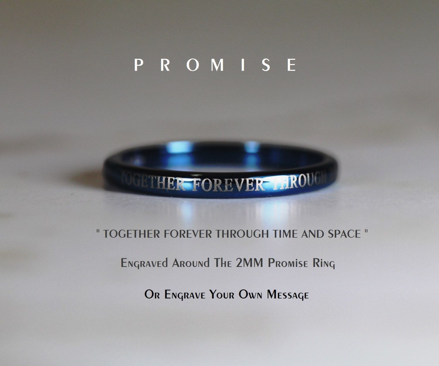 Blue Or Silver Doctor Who Inspired 2mm Tungsten Promise Ring With ...