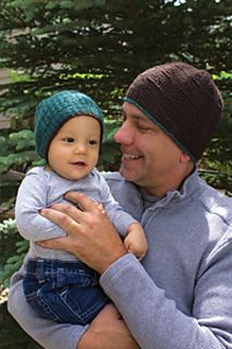 Kenzie Father and Son Beanies pattern by Lisa Ellis from Love of Knitting Holiday Knits 2014 Hikoo Skacel