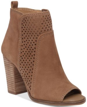 c8f1c4e0138 Lucky Brand Women's Lakmeh Peep-Toe Perforated Booties - Tan/Beige ...