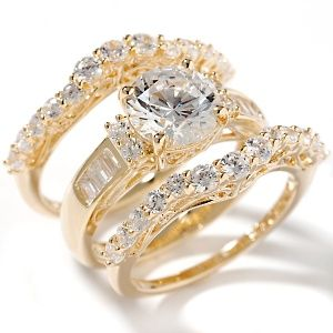 333ct absolute round and baguette 3 piece ring set at hsncom - 3 Piece Wedding Ring Set