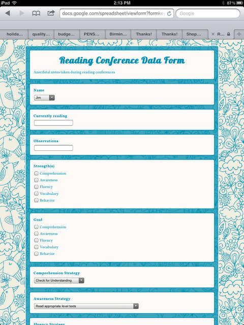 Make A Google Form To Track Quick Notes During Student Conferencing Goal Setting Reading Conference Forms Reading Conference Reading Workshop