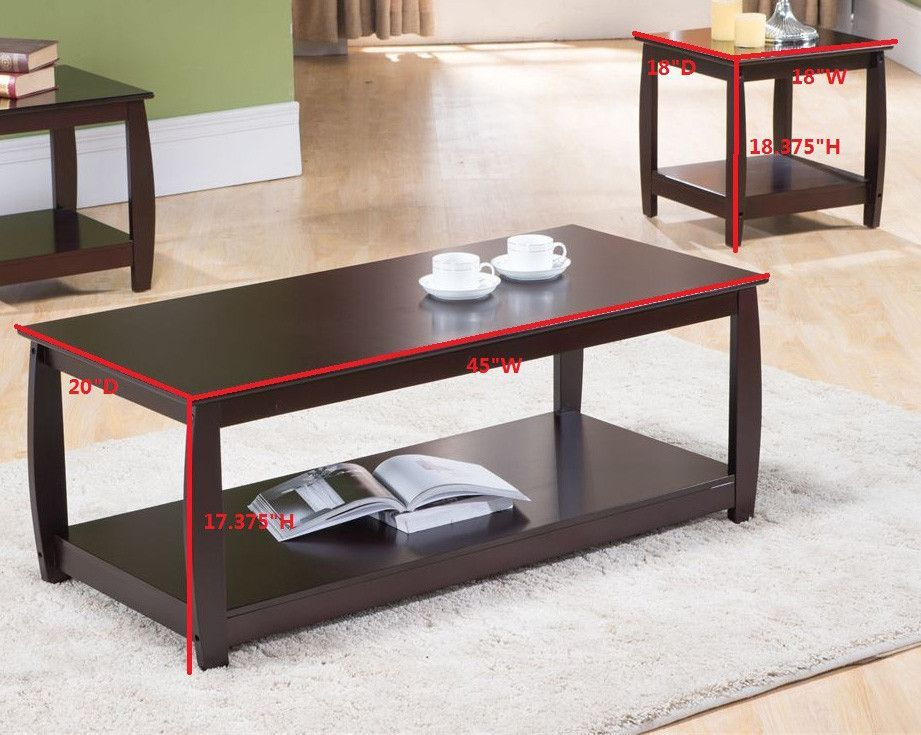 3 Piece Cherry Finish Wood Coffee Table 2 End Tables Occasional