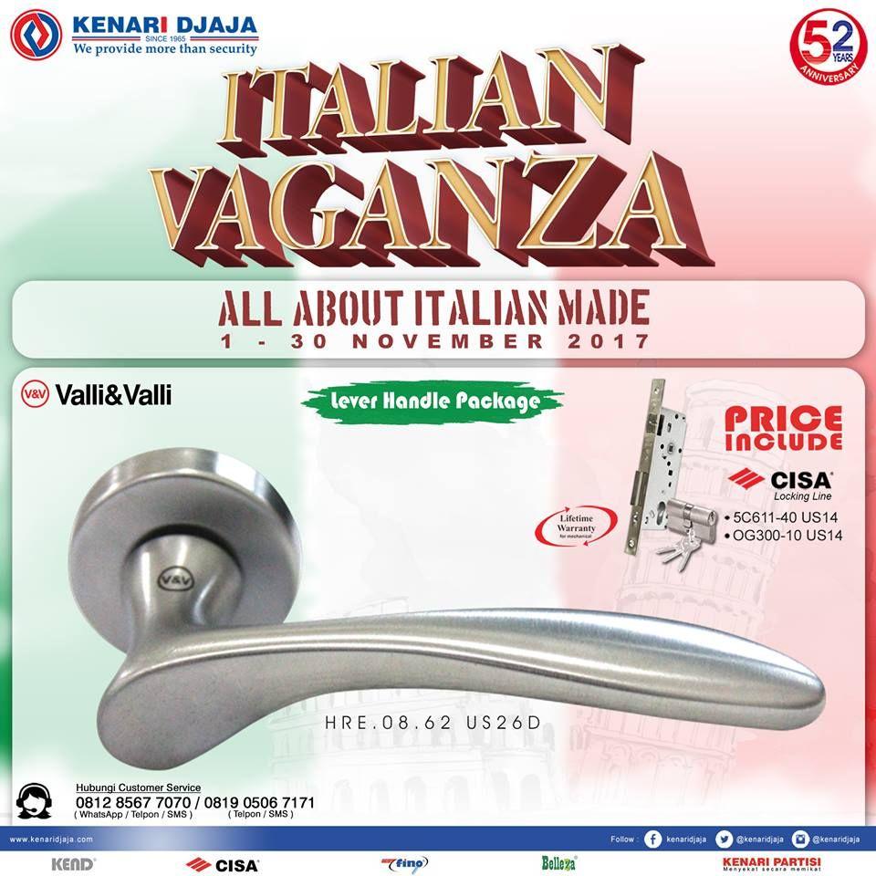 """Yuk Kunjungi Showroom Kenari Djaja Terdekat ... Nikmati Promo Supernya """"ITALIAN VAGANZA"""" Berlangsung Dari Tanggal 1 - 30 Nopember 2017. Jangan Sampai Terlewatkan Paket Handle Set Dengan Harga Istimewa  Informasi Hub. : Ibu Tika 0812 8567 7070 ( WA / Telpon / SMS ) 0819 0506 7171 ( Telpon / SMS )  Email : digitalmarketing@kenaridjaja.co.id  [ K E N A R I D J A J A ] PELOPOR PERLENGKAPAN PINTU DAN JENDELA SEJAK TAHUN 1965"""