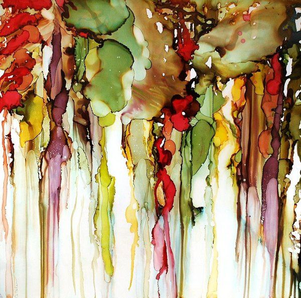Lynn Callahan Painting; Lynn Callahan Alcohol Ink On Yupo; Yupo Paintings; Alcohol Ink Paintings; Abstract Ink Paintings; Art Print featuring the painting From The Earth by Lynn Callahan