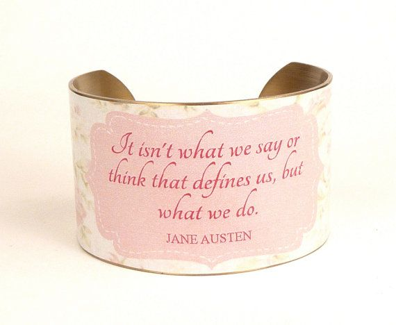 Jane Austen Quote Cuff Bracelet Pastel Pink by accessoreads