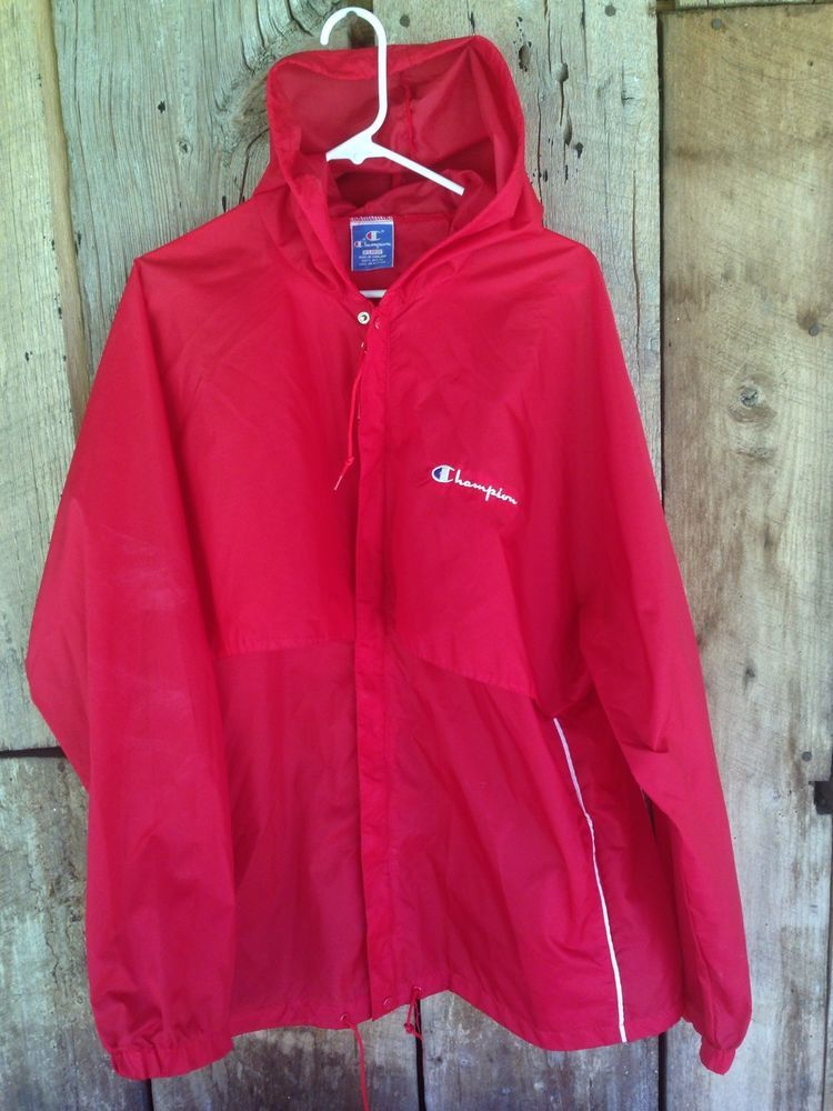 12c686586f7 Vtg 80s Simple Red Retro CHAMPION Windbreaker Hooded Zip Up LOGO Nylon  Men s XL  fashion