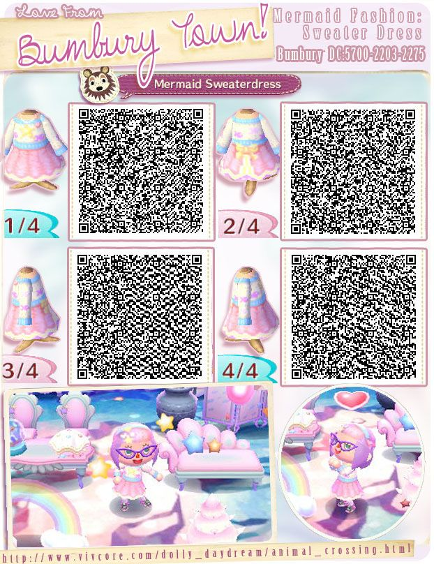 Animal Crossing Qr Code For A Cute Mermaid Sweater Dress Acnl Pinterest Animal Crossing