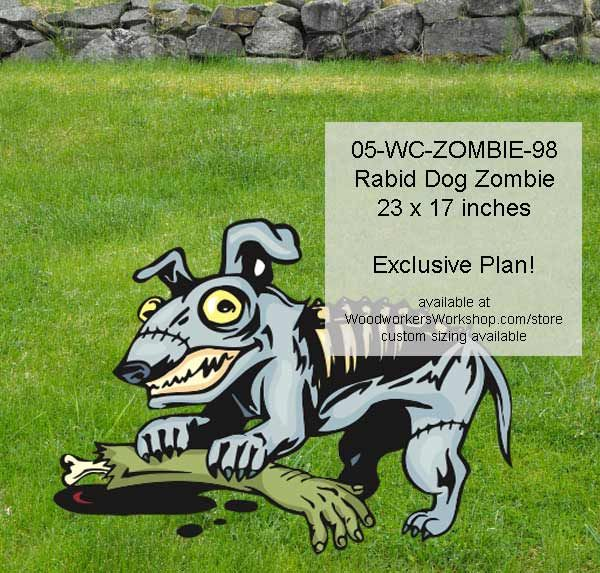 05-WC-ZOMBIE-98 - Rabid Dog Zombie Woodworking Yard Art Project #diy #woodcraftpatterns