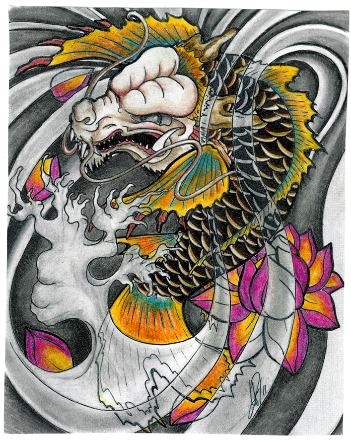 Nice but too much dragon at this point a lot of for Japanese koi dragon