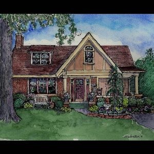 house portrait original custom painting of your home in pen ink and