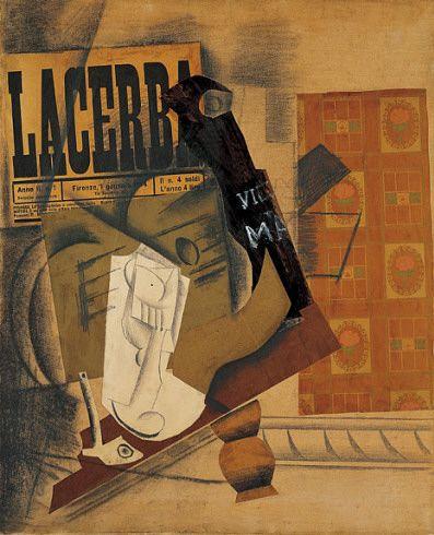 Collection Online   Pablo Picasso. Pipe, Glass, Bottle of Vieux Marc (Pipe, verre, bouteille de Vieux Marc). Paris, spring 1914 - Guggenheim...