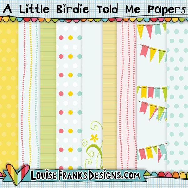Cute background set created for crafts and blog designs. 10 in total, featuring pennants, stripes, spots and more. You can get them from http://louisefranksdesigns.com/store/index.php?main_page=product_info&cPath=20&products_id=7.