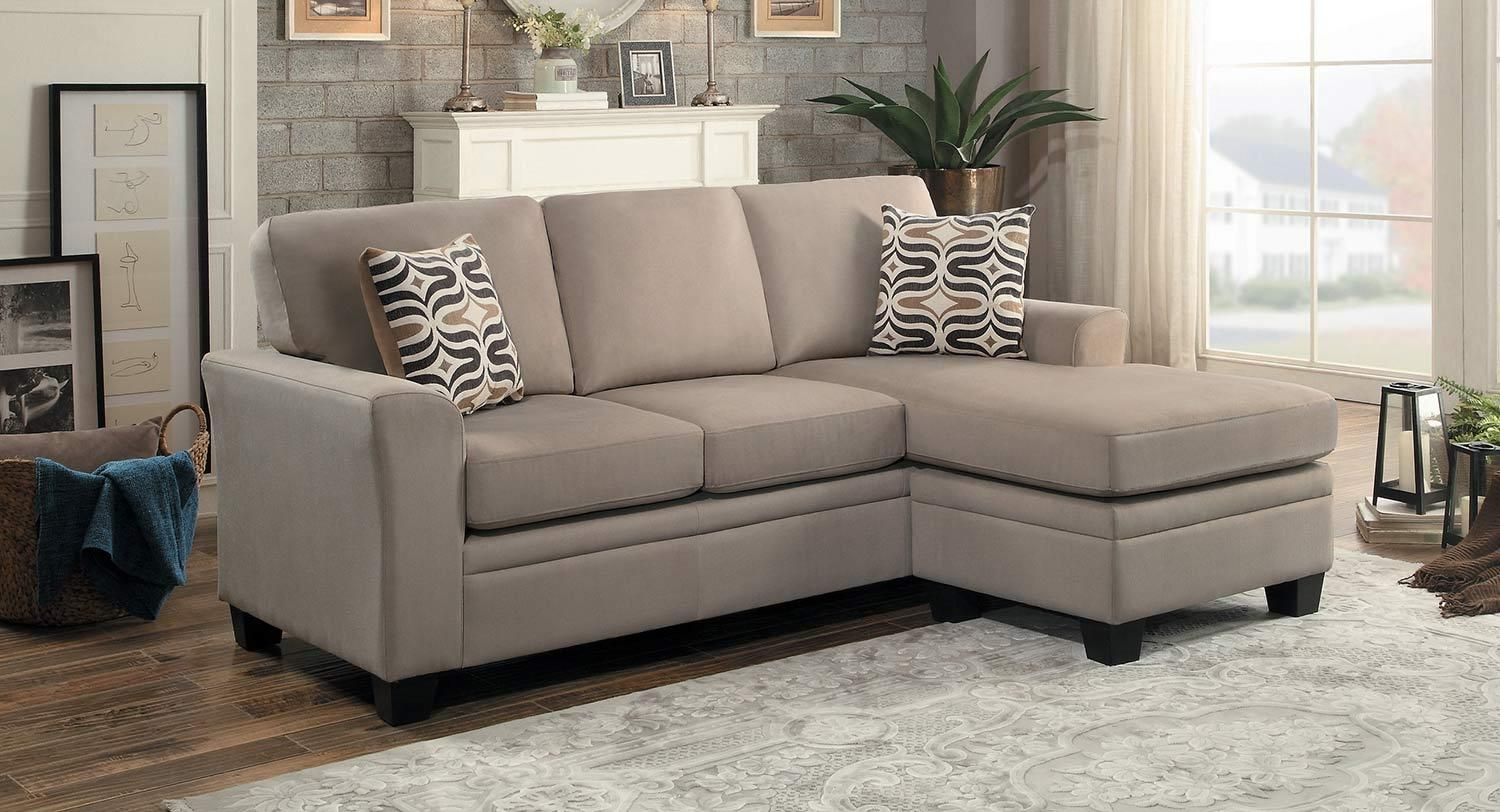 Synnove Modern Light Brown Fabric Sectional Sofa Set Reversible Chaise Wooden Sofa Chaise Sofa Sofa Frame