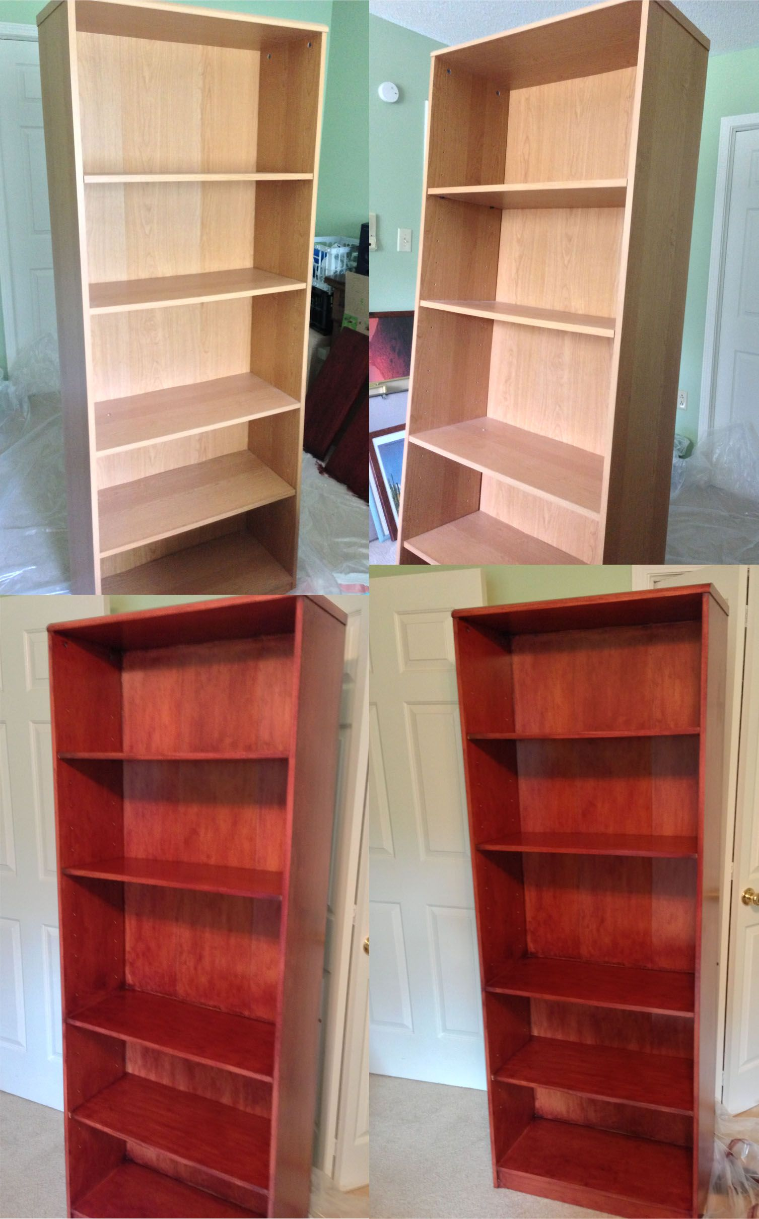 Re Do Of Old Wal Mart Pressed Wood Bookcases I Used General Finishes Georgian Cherry Gel Stain They Look So Much Nicer