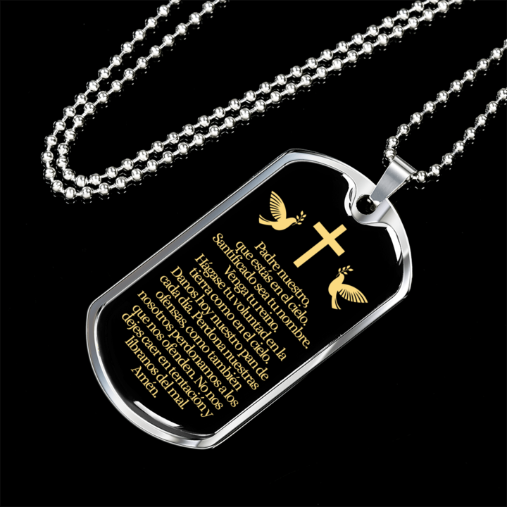 3170f42cbe7ca Padre Nuestro (Our Father in Spanish) Dog Tag Pendant Necklace ...