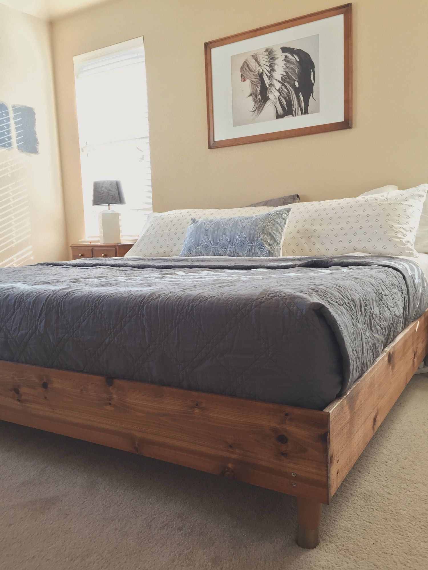Diy Platform Bed Base Bedroom Update King Bed Diy Wood Stuff Diy Bed Frame
