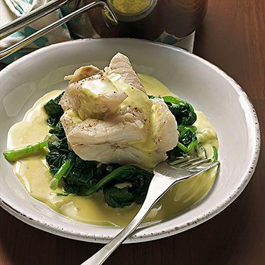 Fisch mit Spinat und Senfsauce Rezept   Küchengötter