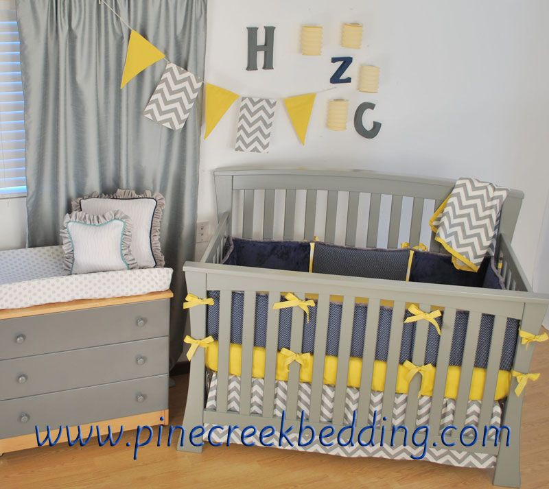 Navy Chevron Baby Bedding Sets