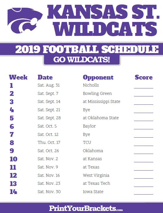 Husky 2019 Football Schedule 2019 Kansas State Wildcats Football Schedule | Printable College