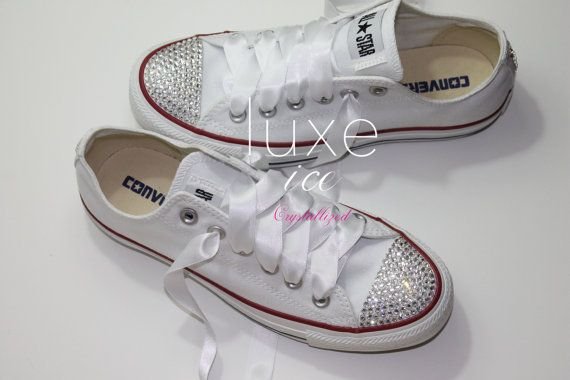 Converse All Star Chucks Adult Sizes White w CRYSTAL by luxeice ... 2937a21829