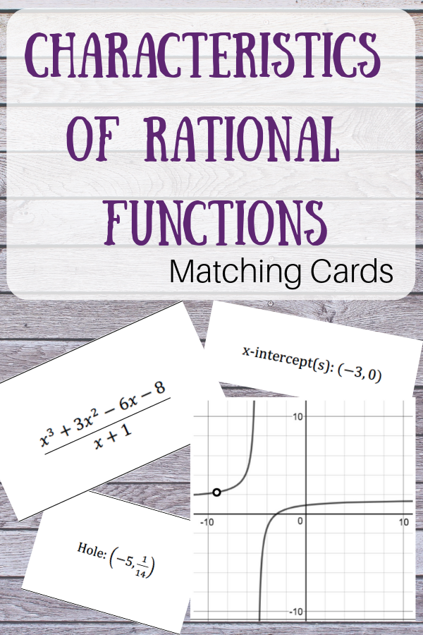 Characteristics Of Rational Functions Matching Activity Rational Function Matching Cards Function