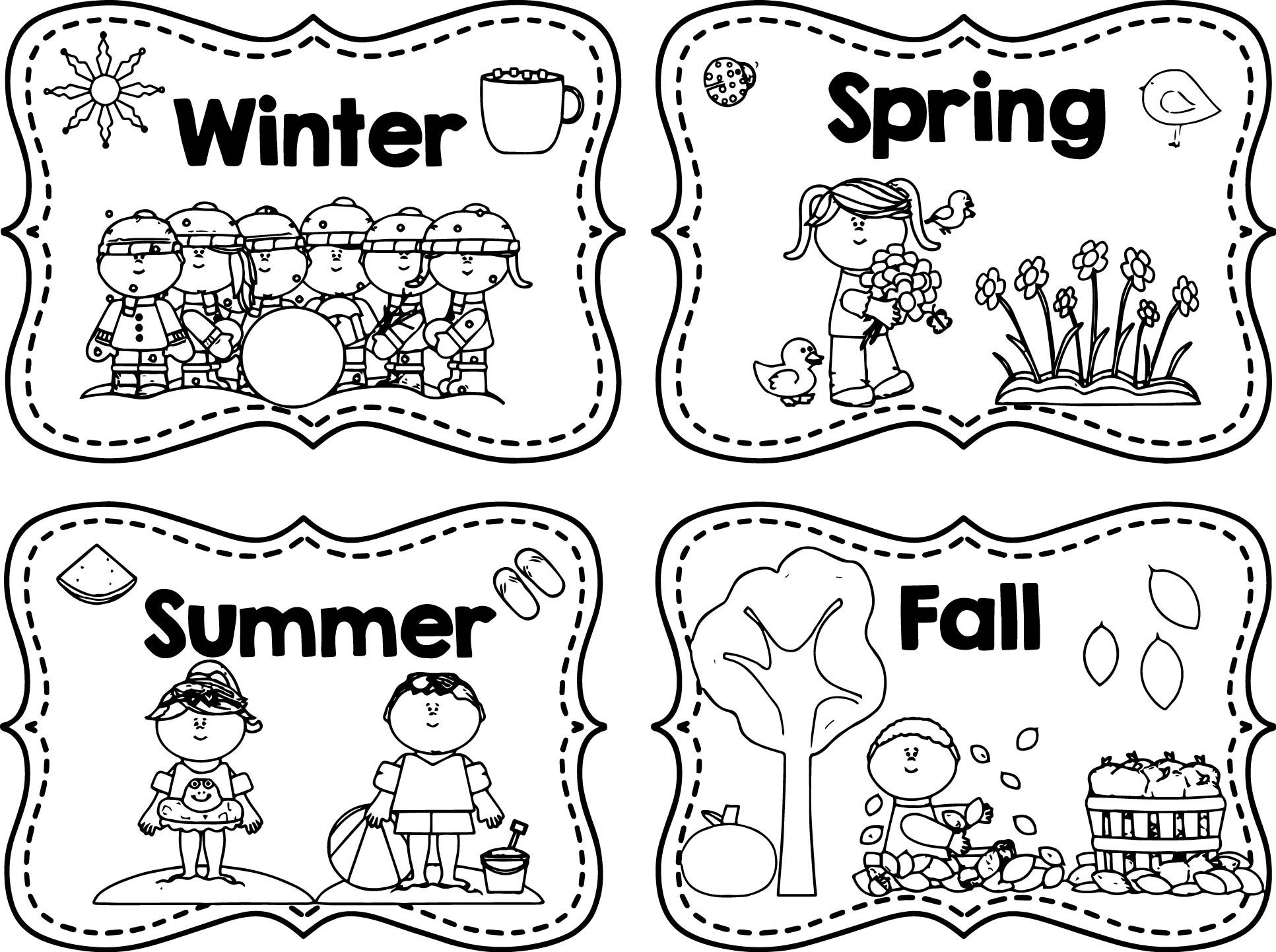 Winter Spring Summer Fall Coloring Page Atividades De Estacoes