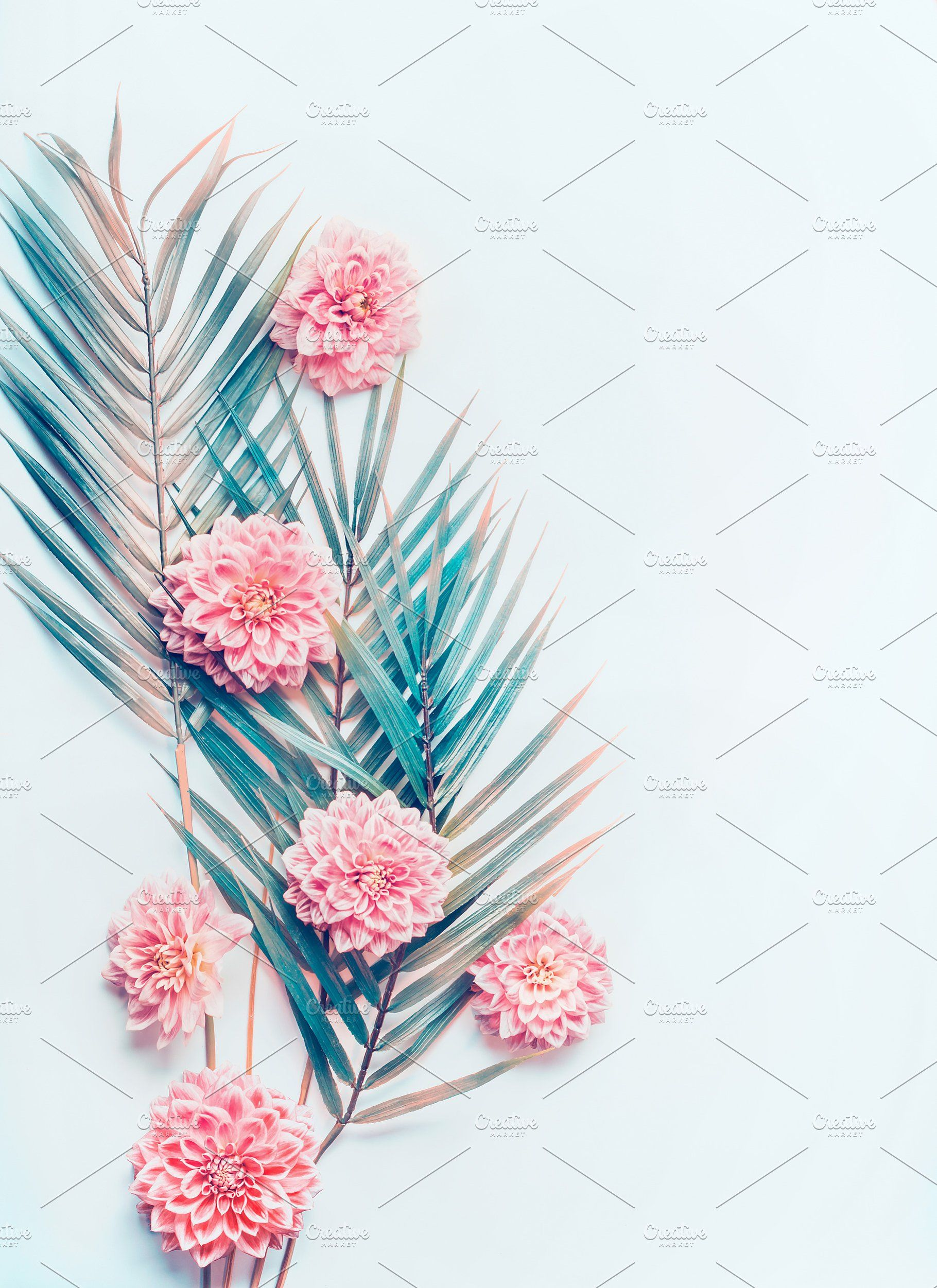 Tropical Leaves And Pink Flowers Pink And Turquoise Wallpaper Flower Wallpaper Flower Aesthetic
