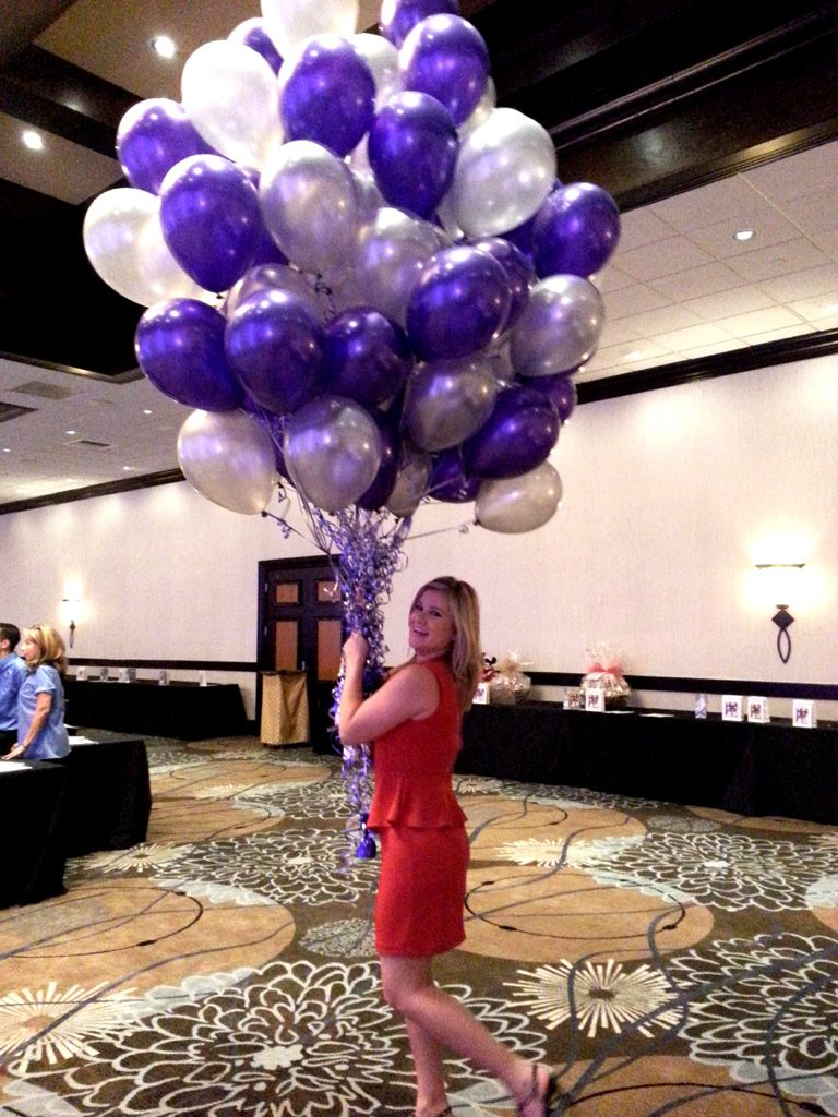 Purple and silver party decorations balloon bouquet for 75th birthday party decoration ideas
