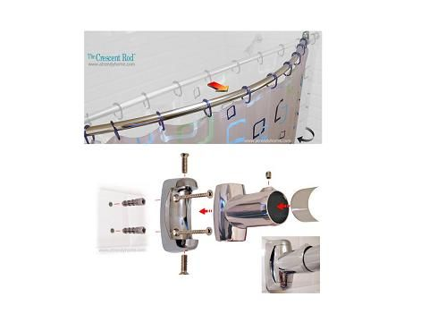 High Quality Image Detail For   RV Curved Shower Curtain Rod | ModMyRV
