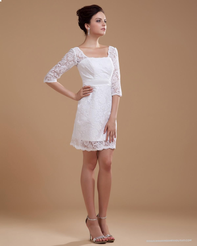 Three quarter sleeve lace square neck short wedding dress or