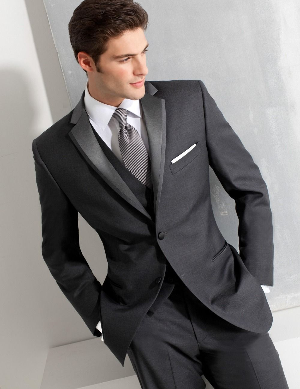 Dark Gray Suits Wedding Two buttons groom tuxedos dark | CHESTI DE ...